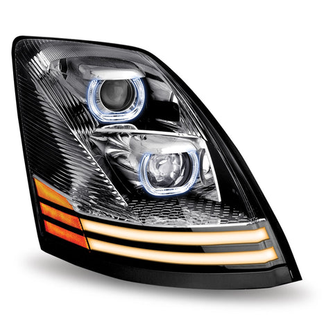 Volvo VNL LED Projector Headlight Assembly with 2 LED Strips (Passenger Side) - No Programming Needed