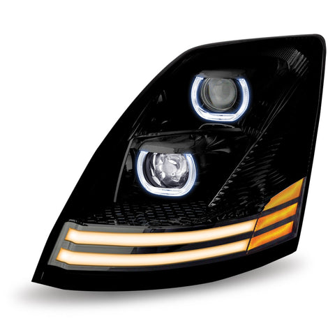 Volvo VNL LED Projector Headlight Assembly with 2 LED Strips (Driver Side) - No Programming Needed