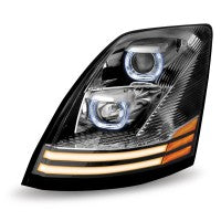 Volvo VNL Halogen Headlight Assembly with 2 LED Strips (Driver Side) - No Programming Needed