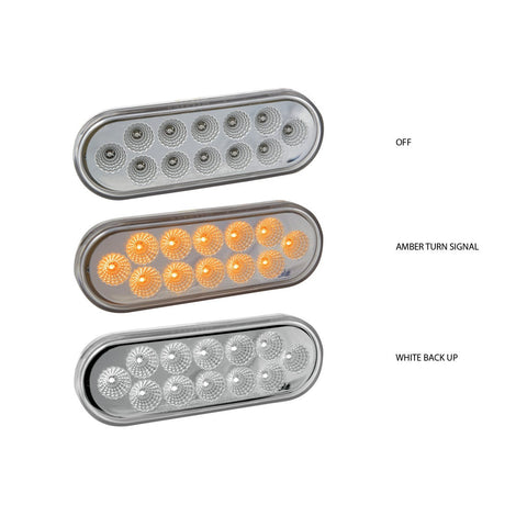 Dual Revolution Amber Turn Signal & Marker to White Auxiliary LED Oval Light