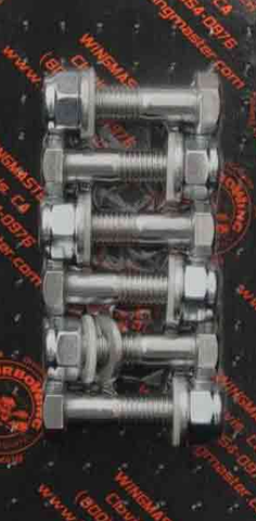 "Stainless Steel 6 Bolt Bumper Kit - 5/8"" x 2"" Polished Bolts, Washers, Nylons Washers, Zinc Nylon Nuts"