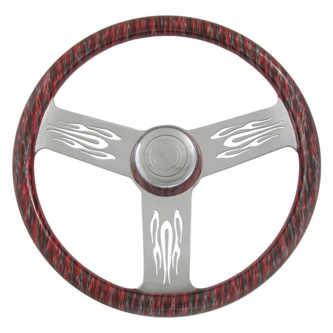 "18"" Steering Wheel, Black and Silver on Viper Red Wood, Chrome 3 Spoke with Flame Cut Outs"