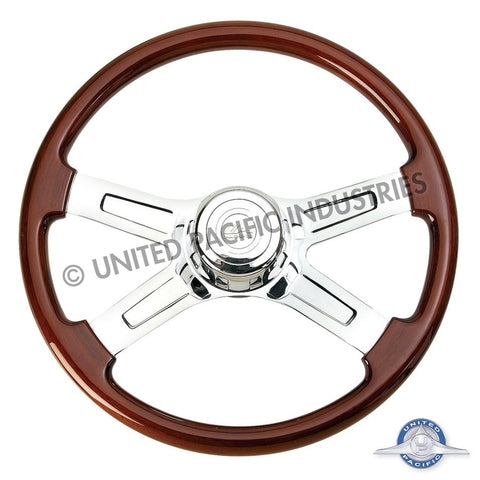 "18"" Chrome 4 Spoke Steering Wheel w/ Hub - Freightliner 1989-July 2006"