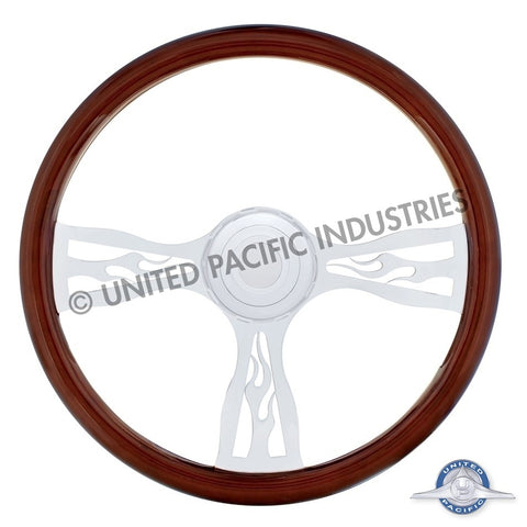 "18"" Flame Steering Wheel w/ Hub - Peterbilt 1998+, Kenworth 2001+"