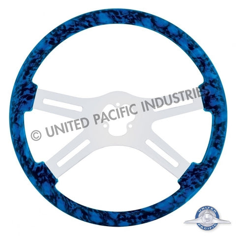 "18"" Skull Steering Wheel Only w/ Hydro-Dip Finish Wood - Blue"