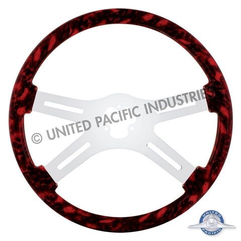 "18"" Skull Steering Wheel Only w/ Hydro-Dip Finish Wood - Red"