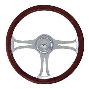 "18"" Steering Wheel, Wood Rim, Chrome 3 Spoke With Saber Cut Outs"