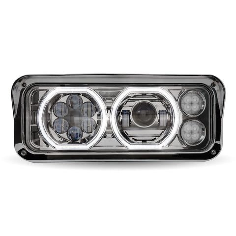 Universal Chrome LED Projector Headlight Assembly with Auxiliary Halo Rings (Driver Side)