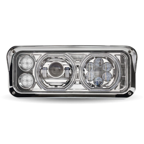 Universal Chrome LED Projector Headlight Assembly with Auxiliary Halo Rings (Passenger Side)