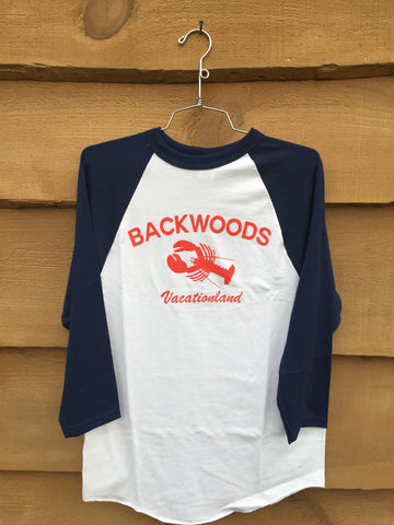 "Backwoods ""The Tourist"" 3/4 sleeve Baseball Tee - Navy/White"
