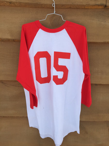 "Backwoods ""King of Boards"" 3/4 sleeve Baseball Tee - Red/White"