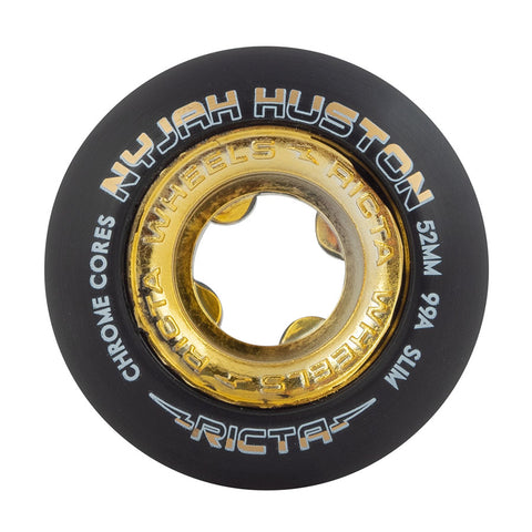 Nyjah Huston Chrome Core Black Gold Slim 99a Ricta Skateboard Wheels