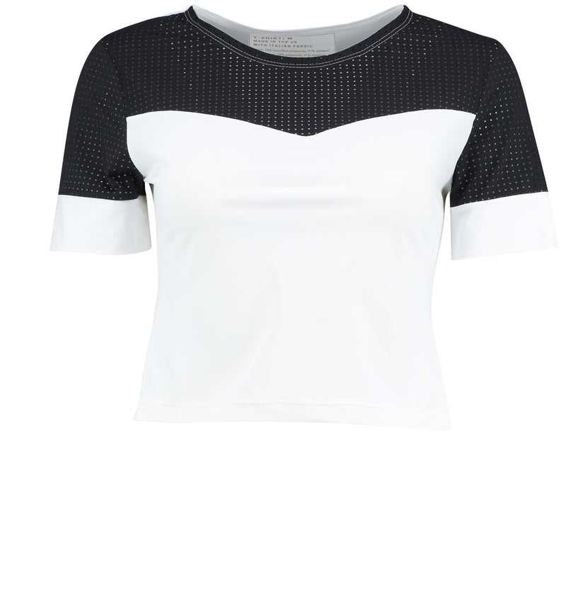Cropped Utility Tee - Black and White