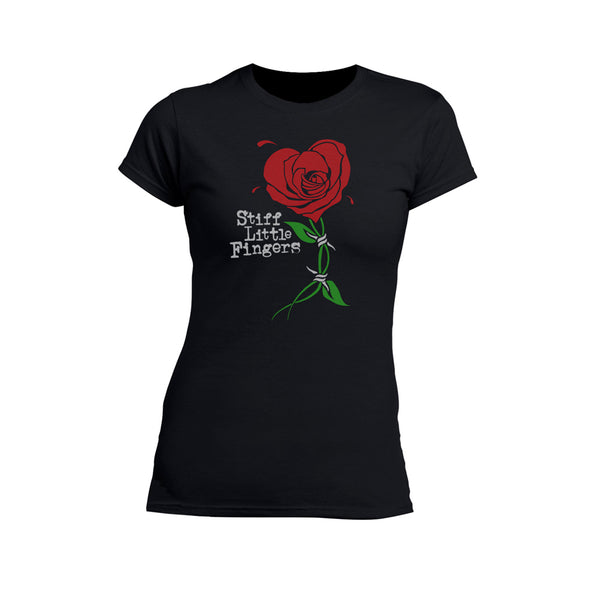 Barbed Rose Ladies Scoop Neck Black T-Shirt