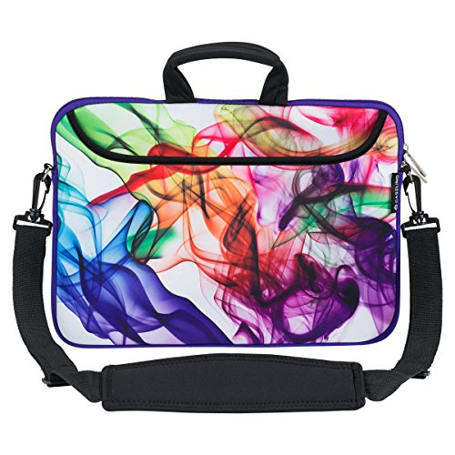 Caseling 13-13.3 inch Laptop Computer Neoprene Sleeve Carrying Case Bag with Handle, Adjustable Shoulder Strap & Extra Pocket. - Colorful/White - caseling.com
