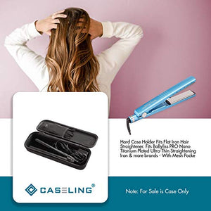 Hard Case Holder Fits Flat Iron Hair Straightener. Fits BaBylissPRO Nano Titanium-Plated Ultra-Thin Straightening Iron & more brands - With Mesh Pocket. By Caseling - caseling.com