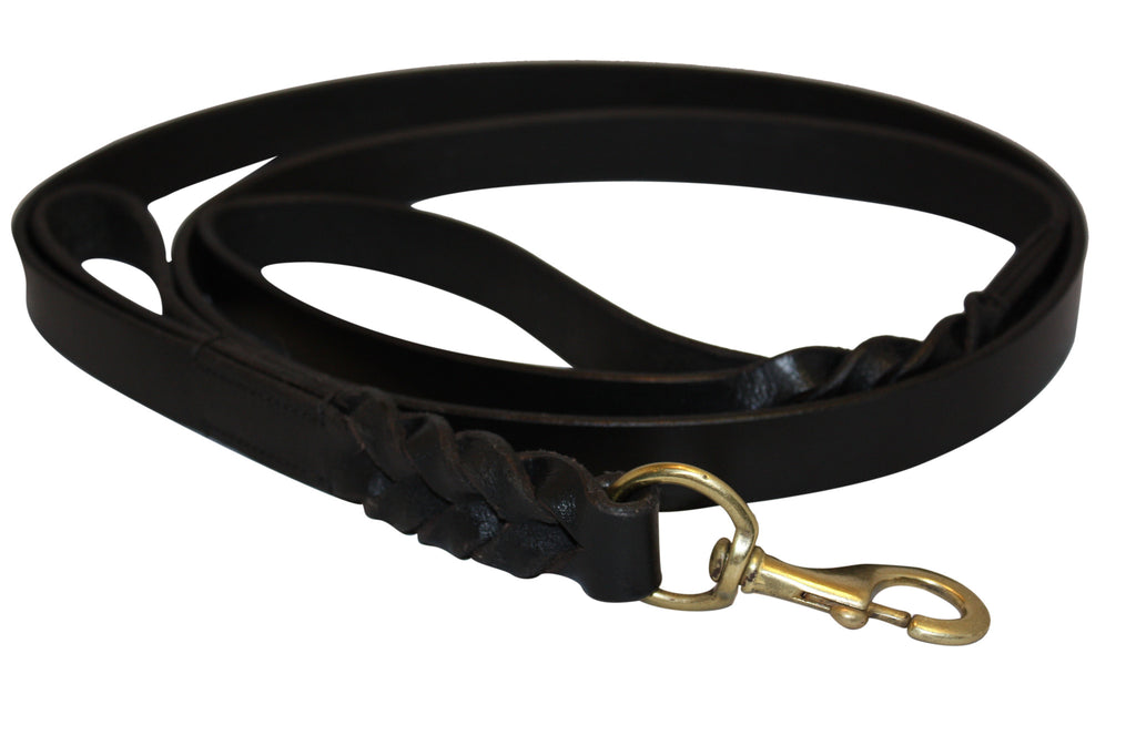 Leash - Braided w/ Double Handle (Leather)