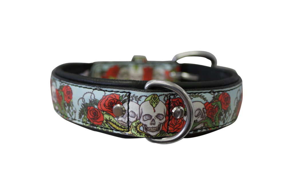 "Collar - ""Angel Inked"" - Skull & Roses (Leather)"