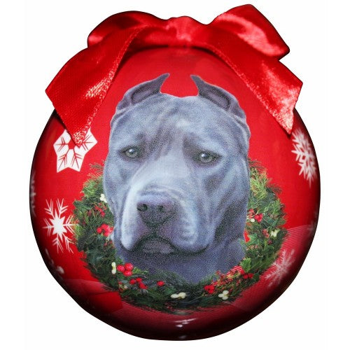 Christmas Ornament - Pit Bull, Blue