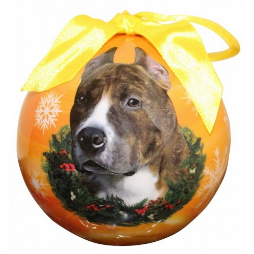 Christmas Ornament - Pit Bull, Brindle & White