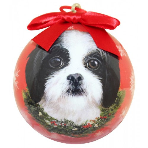 Christmas Ornament - Shih Tzu, Black & White Puppy Cut