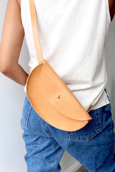 Extended Half Moon Crossbody/ Waistbag - Russet Tan