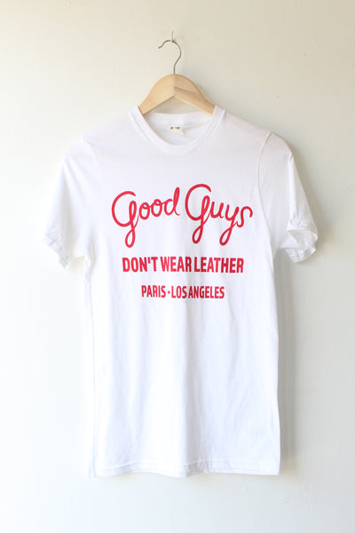 Good Guys Don't Wear Leather Tee Shirt - White