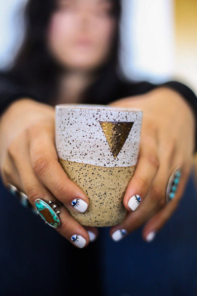 Earth + Element Ceramic Gold Triangle Cup