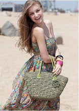 Hannah Summer Straw Beach Bag-Green