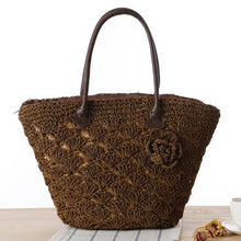 Hannah Summer Straw Beach Bag-Dark Brown