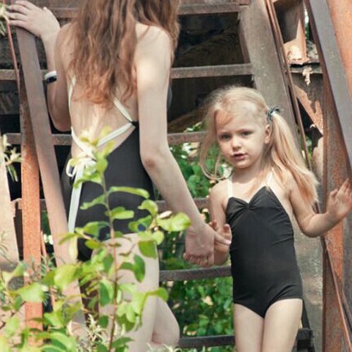 Ora Black Backless Baby Swimsuit
