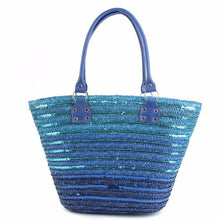 Briella Sequin Straw Beach Bag-Blue