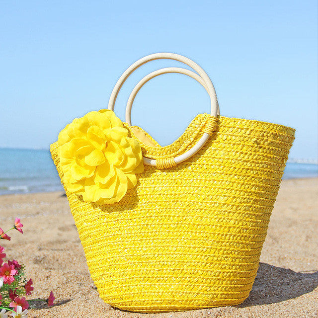Boho Sun Kiss Straw Beach Bag