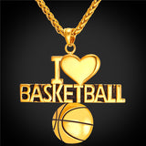Basketball Pendant Charm Necklace/ I Love Basketball, Sport Jewelry Stainless Steel Silver or Gold Plated. 2 Designs