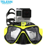 Mask - Several color choices. Goggles, Snorkel, Swimming, Tempered Glass, For GoPro Hero 5, Hero 3, Action Camera Accessory