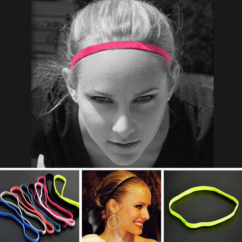 2 Pcs Hair Bands in 5 Color Choices. Good for all sports or on the go.  Running, Basketball, Fashion, Women ,Men,Girls, Yoga, Boys, Football, Soccer, Pure Color Thin Hair Bands, Sports. Headband Anti-slip Elastic Rubber Sweatband