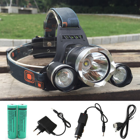 12000LM LED L2+2R5 Headlamp Headlight Head Lamp lighting Light Flashlight Torch Lantern Fishing+18650 battery+Car USB AC Charger
