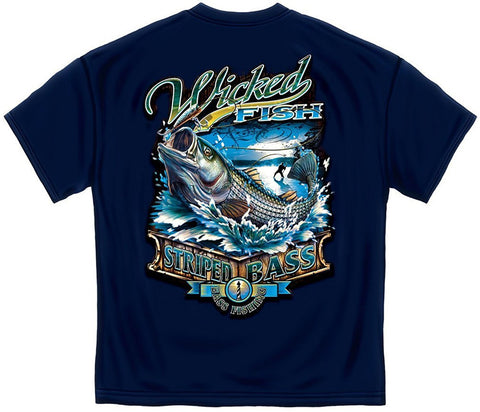 Wicked Fish Striped Bass T-Shirt - Unisex - XS - XL - 100% Cotton - Unisex