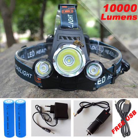 10000LM CREE XML T6+2R5 LED Head Light Lamp - 4 Mode Torch Light - Work, Camping, Outdoor Fun