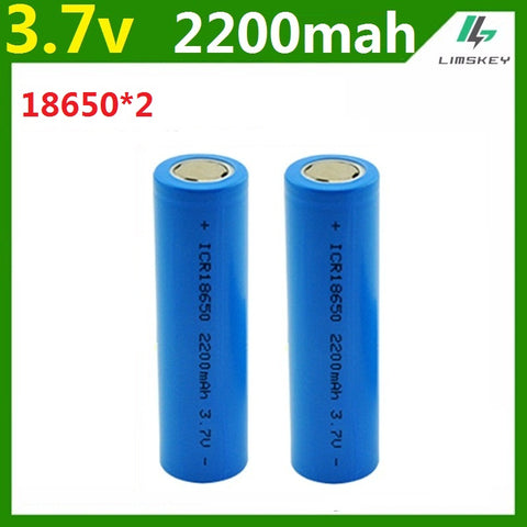 2pcs /lot  3.7v 2200mAh Capacity 18650 Battery 3.7v Li-po Rechargeable 18650 Battery For Car/toys/Flashlight