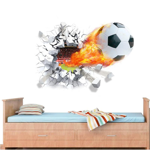 Soccer ball - Firing Through Wall Sticker - kids room.  3D mural Art sport.