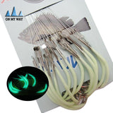 Fishing Glow Hooks - 30 Piece Set - 3 Size Choices - Luminous Barbed High Carbon Steel - Fresh or Salt Water