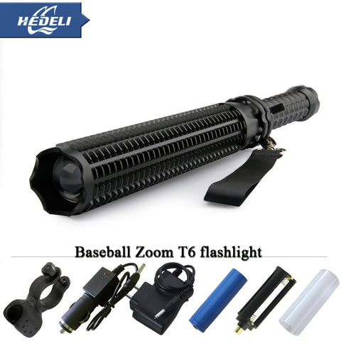 Flashlight - Tactical - Self Defense - LED - CREE XML T6 Torch Light - Bat Extends - Self Protection - Rechargeable
