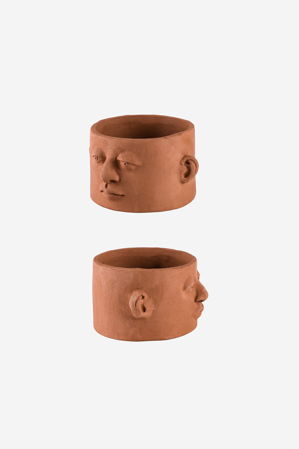Head Planter Pottery Chaparra Roja Side Views
