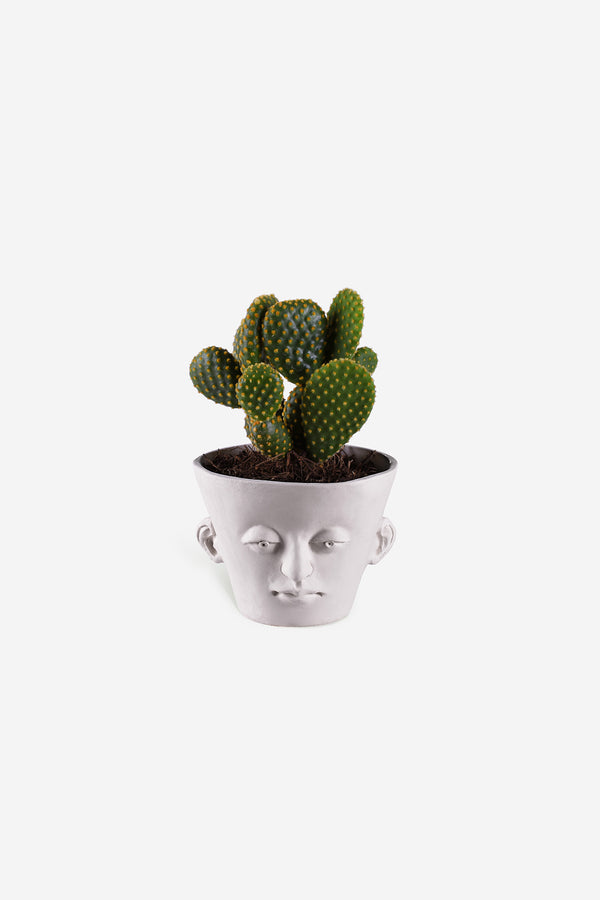 Head Planter Pottery Classic Blanca Front