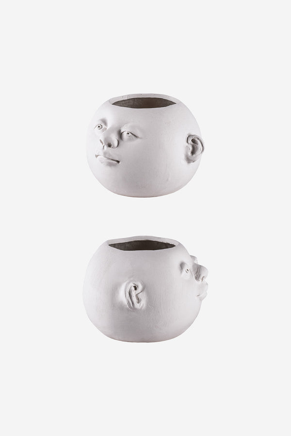 Head Planter Pottery Classic Blanca Side Views