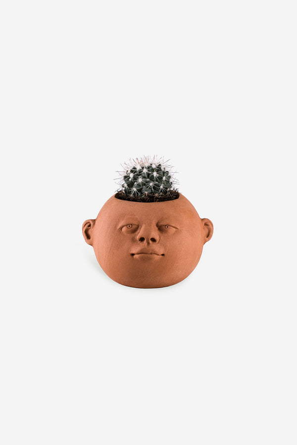 Head Planter Pottery Gordita Roja Front