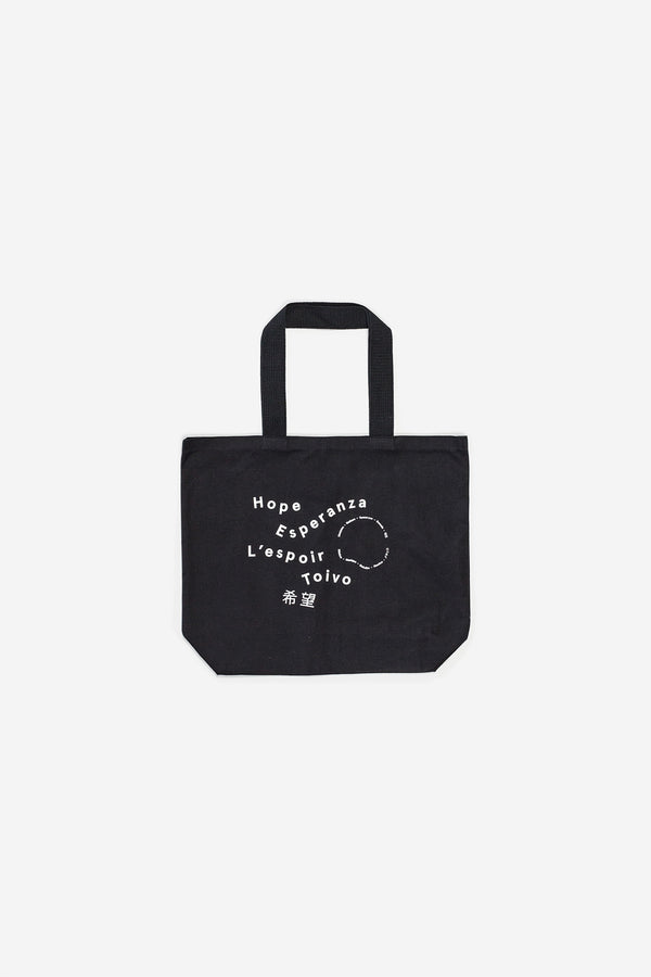 Manyana Canvas Tote Hope Logo Black Front
