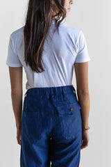 Manyana Unisex Pant Linen Kalach Navy Look Book Female Back Pocket Detail