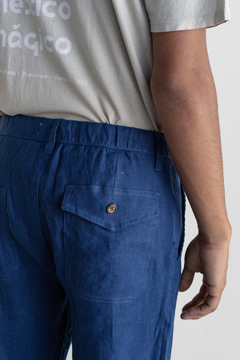 Manyana Unisex Pant Linen Kalach Navy Look Book Male Back Pocket Detail